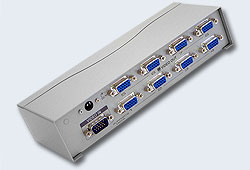 Разветвитель Video Splitter, VGA/SVGA/MultiSync, 1> 8 мониторов/port 300MHz,  65 метр., F>M, без шнуров, Б.П.220> 9V, (5 лет гар+электростраховка;MVS108) [ATEN]