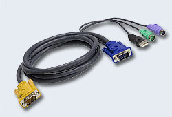 Кабель/шнур, монитор+клав.+мышь USB/PS2, SPHD=>HD DB15+USB A-Тип+2x6MINI-DIN, Male-2xMale,  опрессованный,   1.2метр., [ATEN]