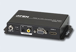 Конвертер, HDMI=>VGA+AUDIO, HDMI>HD-DB15+MINI-JACK+RCA, Female, Б.П. 5V, (1920x1200 DDC2B;1080p;Analog + Digital stereo audio output;5 лет гар+электростраховка;ЗАКАЗ!) [ATEN]