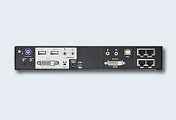 Удлинитель/IP KVM шлюз/extender, KVM+RS232+AUDIO DVI+USB, управл. по IP, Rackmount/Desktop, 2x10/100/1000 Base-T, с KVM-шнурами USB 1x1.2м./USB<=>MiniUSB 1.2м., (Virtual Media;1920x1200 60Hz;WIN/LINUX/SUN/MAC OS X;5 лет гар+электростраховка;ЗАКАЗ!)[ATEN]