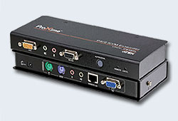 Удлинитель/extender, KVM PS/2+AUDIO+RS232, 150 метр., 1xUTP Cat5e, SPHD17+HD-DB15+2x6MINIDIN+2xMINI JACK+DB9, Female, c KVM-шнуром PS2x1.8м., Б.П.220> 5.3V, (2 конс;макс.разр.1920х1200/30м 60Hz;5 лет гар+электростраховка;F1D084)[ATEN
