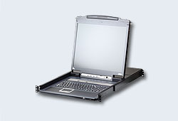 "Переключатель/switch, KVM,  1 local user PS2/USB/VGA консоль LCD 17""+32 IP user => 8 cpu/портов/port PS2/USB+VGA, с KVM-шнурами USB 2x1.8м, 1280x1024, 1U 19"", исп.спец.шнуры, OSD, каскад 256, лат./рус.клав., (5 лет гар+электростраховка)[ATEN]"