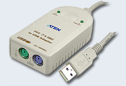 Адаптер/переходник/Adapter, USB<=>2xPS2, A-тип>2xMINI-DIN6, Male>2xFemale, USB 1.0/1.1, шнур 0.30м., (Windows98/98SE/2000/XP/Linux/MAC OS 8.6 или выше/SUN Solaris 8;5 лет гар+электростраховка) [ATEN]